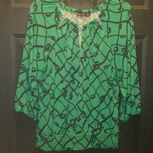 Green nautical knot blouse